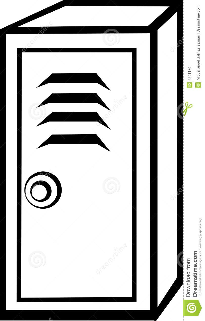 Black And White Illustration Of A Locker