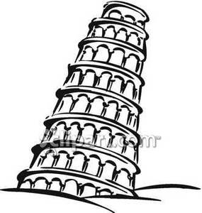 Black and White Leaning Tower of Pisa - Royalty Free Clipart Picture