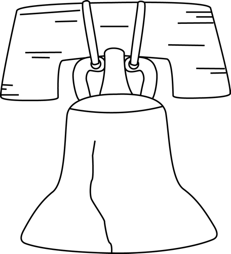 Black And White Liberty Bell Clip Art Image Black And White Outline
