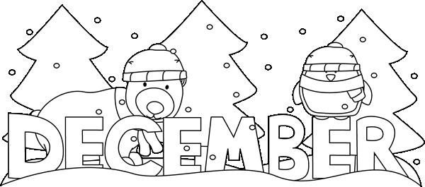 Black and White Month of December Winter Scene