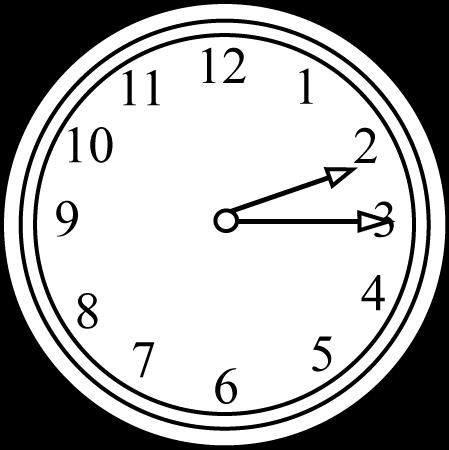Black and White Quarter Past  - Clock Clipart