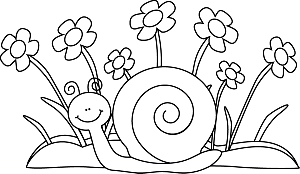 Black And White Snail And Flowers Clip Art Black And White Snail