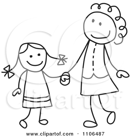 Black And White Stick Drawing Of A Happy Mother And Daughter Holding Hands by C Charley-Franzwa