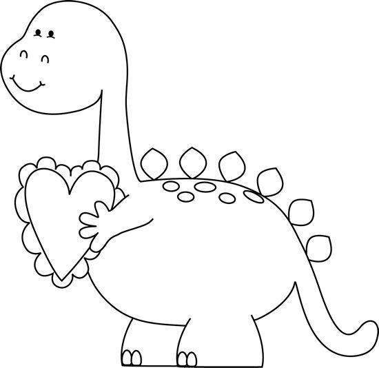 Black and White Valentineu0026#39;s Day Dinosaur Clip Art Clip Art - Black .