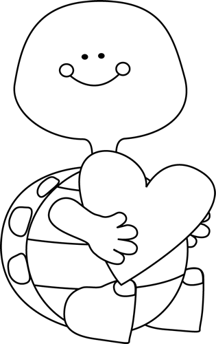 Black and White Valentineu0026#39;s Day Turtle
