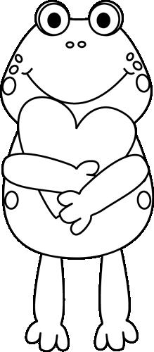 Black and White Valentine Frog