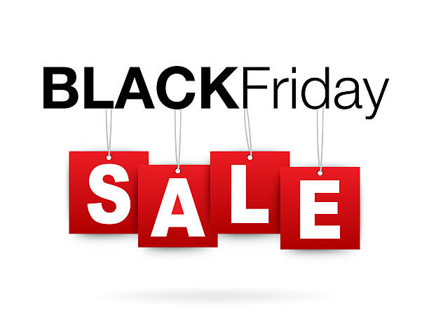 Black Friday sale add or flyer with percent sale vector art illustration