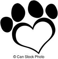 ... Black Love Paw Print Cartoon Character