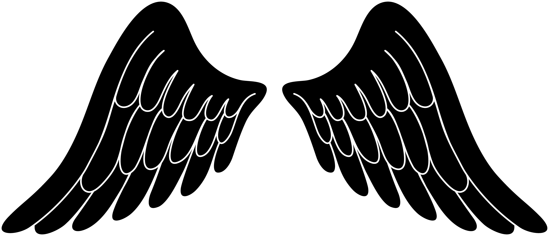 Black silhouette angel wings free clip art