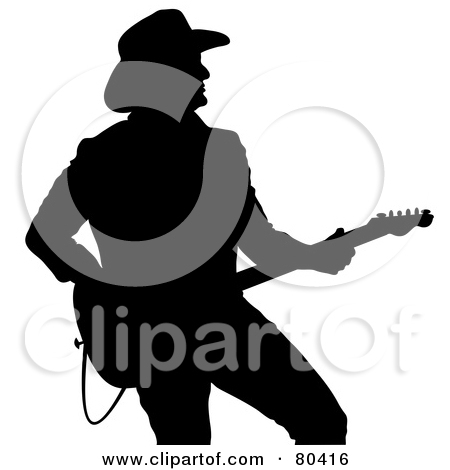 Black Silhouette Of A Country Western Music Guitarist by Pams Clipart
