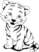 black white tiger cub clipart