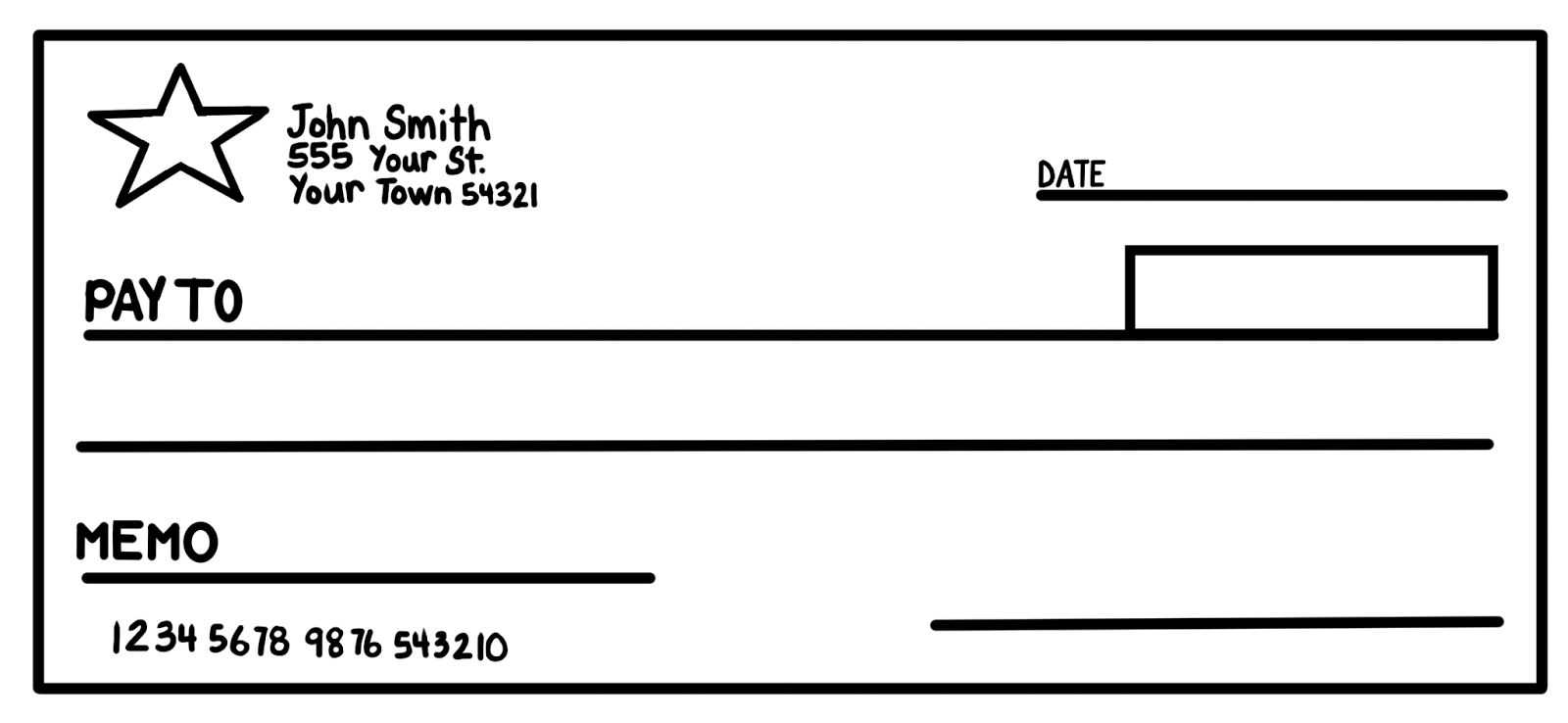 Blank check off clipart kid