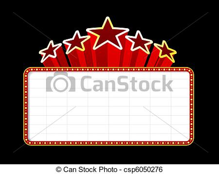 ... Blank movie, theater or casino marquee with stars isolated.