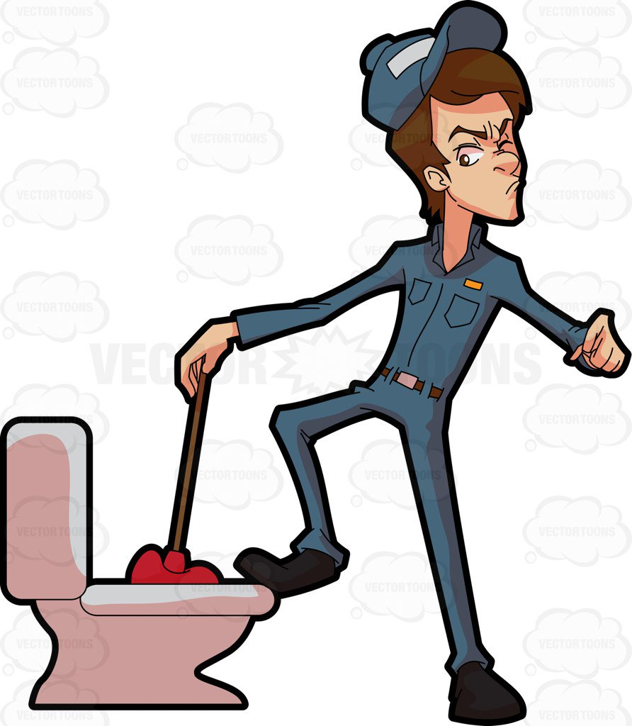 A plumber trying to fix a clogged toilet