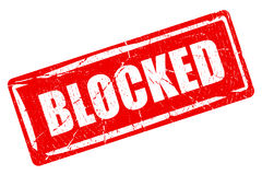 Blocked content rubber stamp. Blocked content red rubber stamp Stock Photos