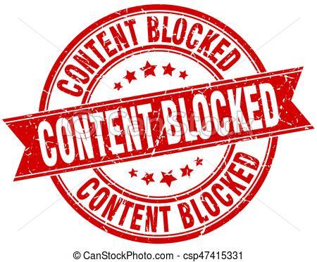 content blocked round grunge ribbon stamp - csp47415331