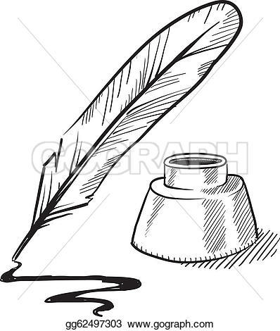 Blue feather u0026middot; Quill pen and inkwell sketch