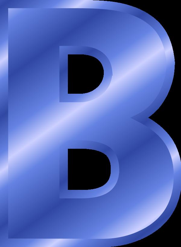 Blue Metallic Letter B Clipart