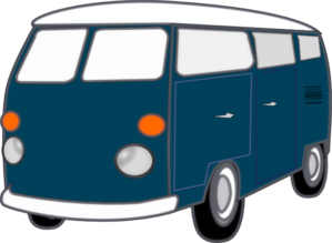 Blue Old Van Clip Art