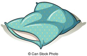 ... Blue pillow - Blue polkadot pillow on a white background