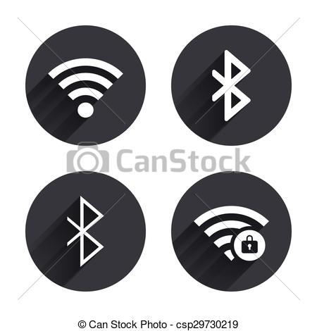 Wifi And Bluetooth Icon. Wireless Mobile Network Vector
