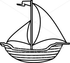 Boat Black And White Clipart. - Boat Clipart Black And White