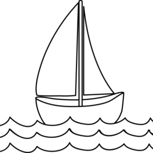 boat on water clip art black and white