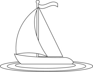 Sailboat Coloring Page Clipart Image: Clip art Illustration of a Sailboat  in Black and White