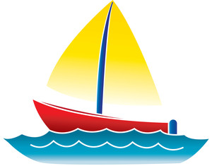 Boat Clipart Image: clip art illustration of a cartoon boat floating on the  water