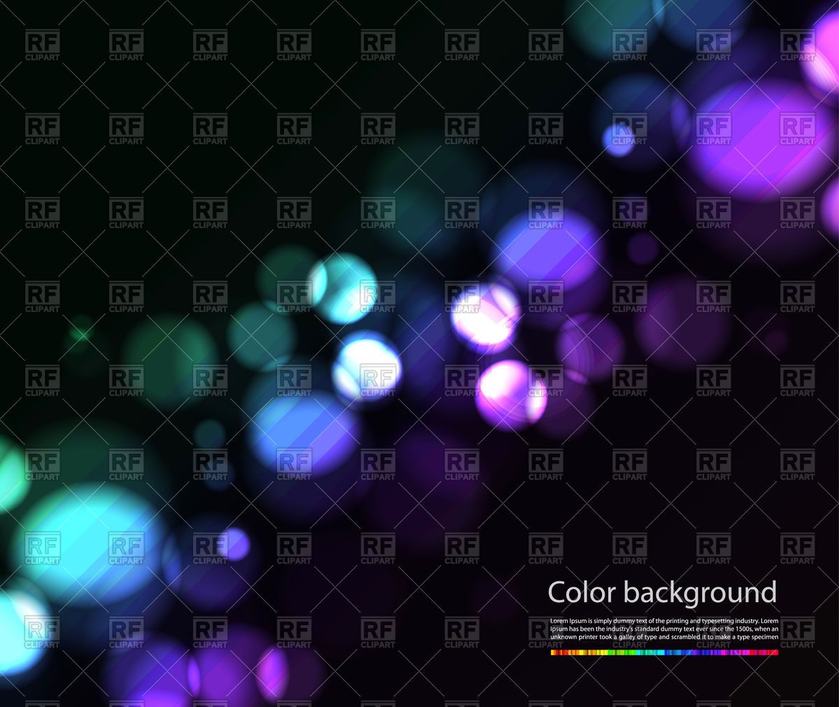 Bokeh lights effects on black background Royalty Free Vector Clip Art