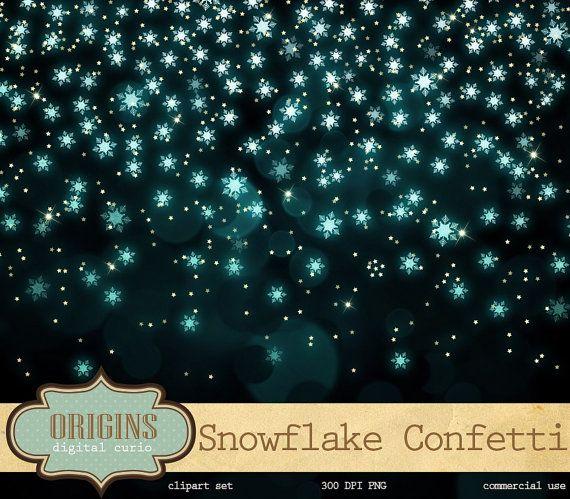 Snowflake Confetti Clipart Snowflake Bokeh by OriginsDigitalCurio
