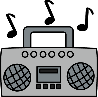 Boombox with Music Notes