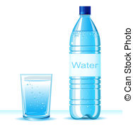 ... Bottle of clean water and glass on white background .Vector.