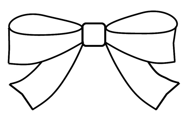 Bow Clipart Outline To Colour 15cm Wide