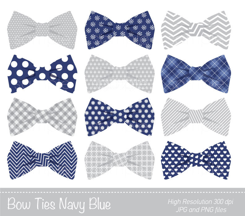 Bow Ties Clipart, Bowtie Clip art, Navy Blue, Grey, Personal u0026amp; Commercial Use, only FOR PERSONAL USE