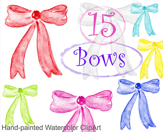 Watercolor clipart - Bows, commercial use multicolor bow, bowknot ribbon  knot bundle gift bow, holiday decoration rainbow, png digital from  AqwaBrush on hdclipartall.com