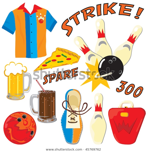 Bowling Clipart Element Icons Isolated On Stok Vektör (Telifsiz Hdclipartall.com