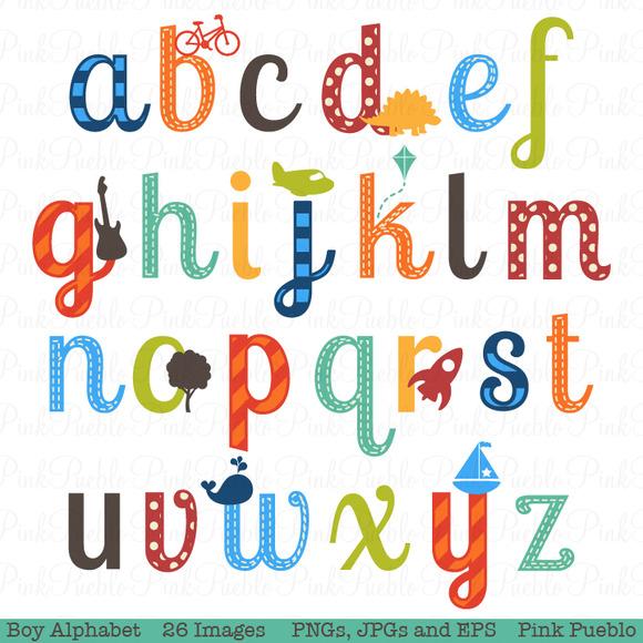 Boy Alphabet Clipart Vectors Illustrations On Creative Market