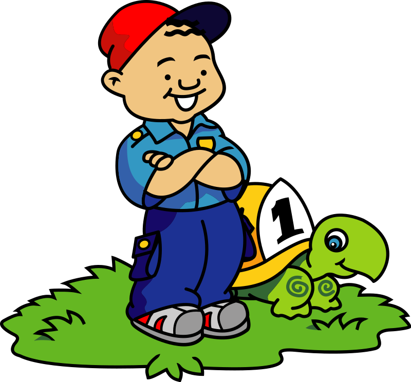 Boy and Turtle clip art from the openclipart