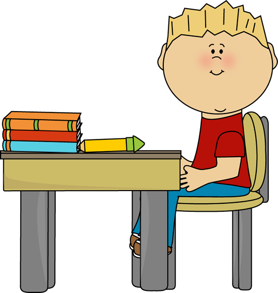Boy At School Desk Clip Art Little Boy At School Desk Vector Image