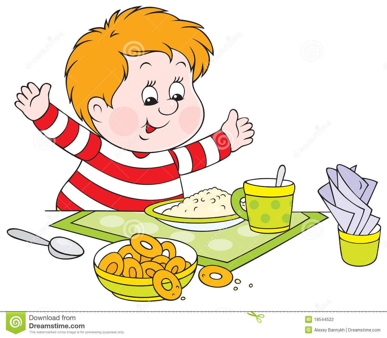 Boy Eating Breakfast Clip Art