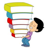 boy lifting many books. Size: 108 Kb