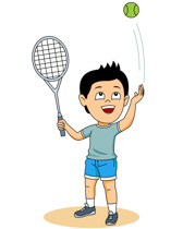 Boy Playing Tennis Clipart Size: 55 Kb