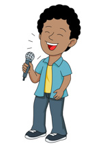 Boy Singing Into Microphone Pointing Finger Up Clipart Size: 67 Kb