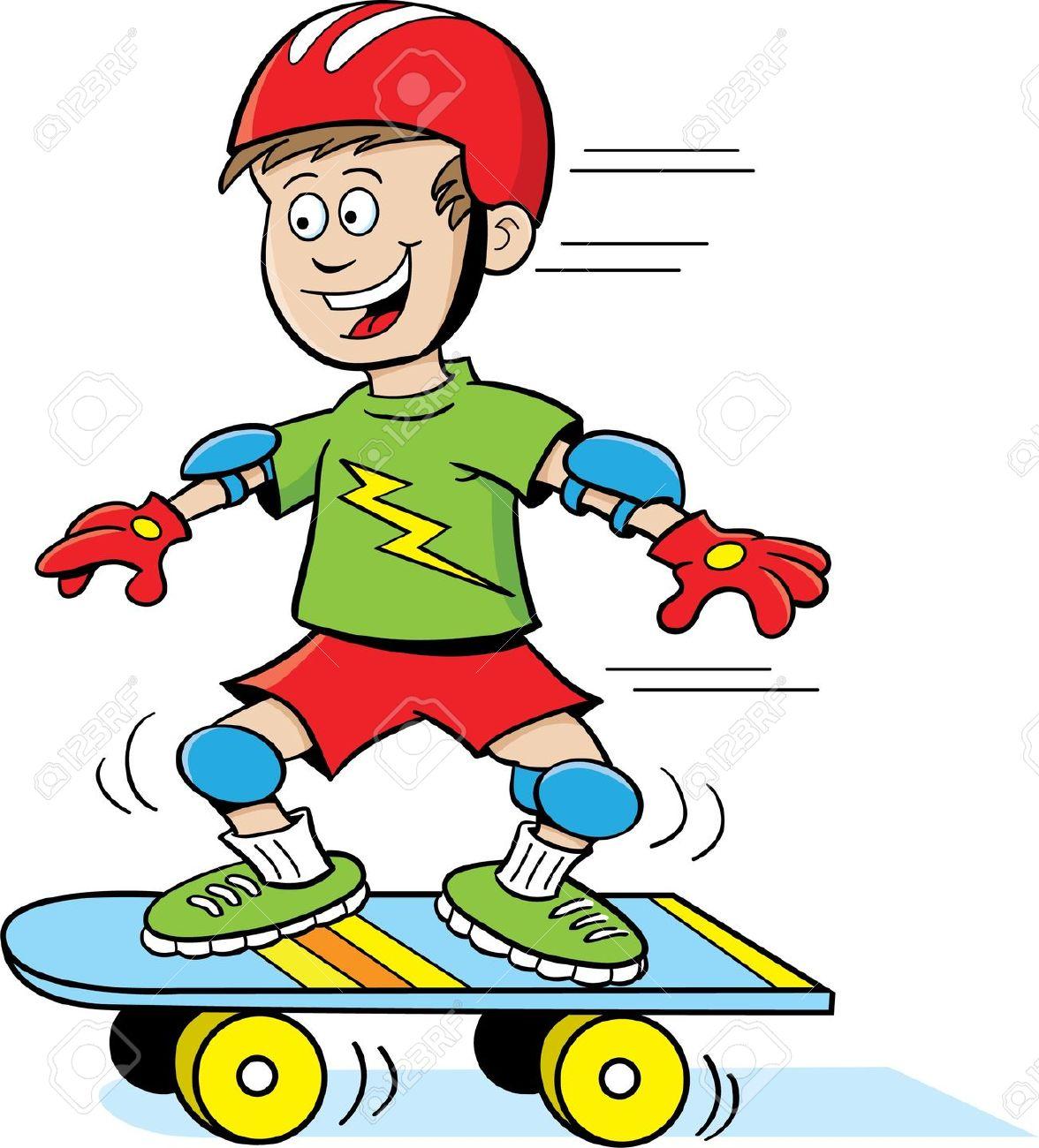 Boy Skateboarding Clipart