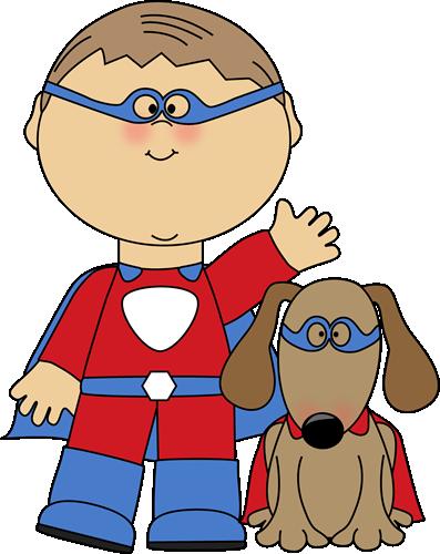 Boy Superhero and Dog