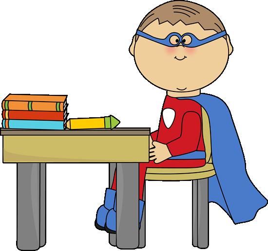 Boy Superhero At School Desk Clip Art Boy Superhero At School Desk