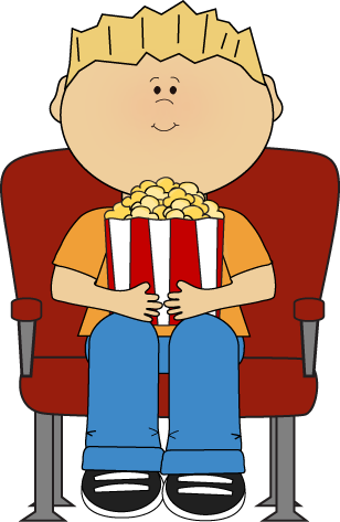 Boy Watching Movie with Popcorn