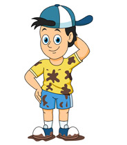 boy wearing hat with muddly clothes clipart. Size: 83 Kb