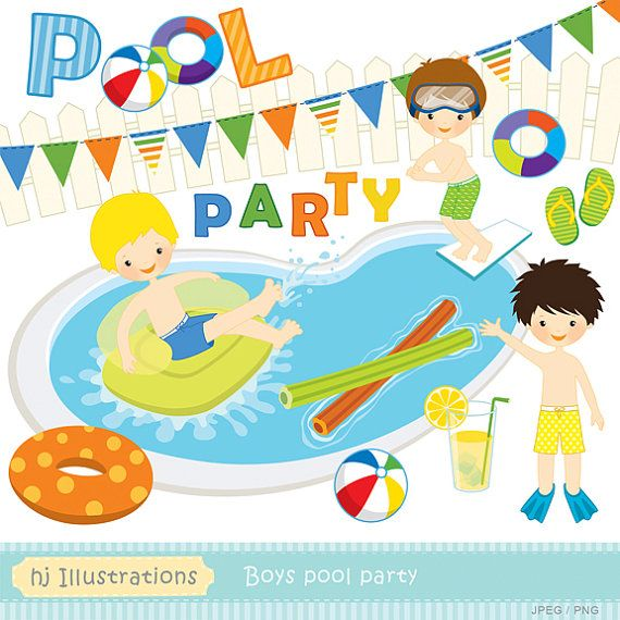 Boys Pool Party Clipart #1